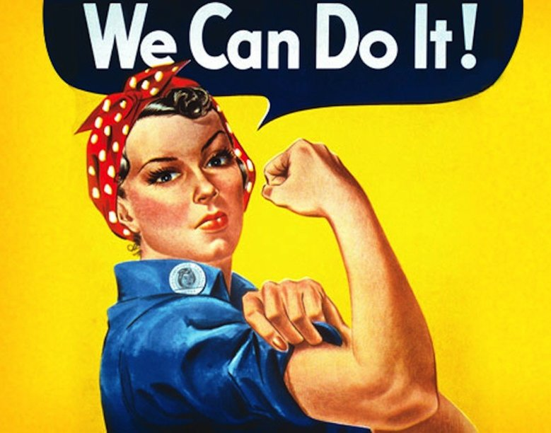 Plakat propagandowy feministek z 1942.